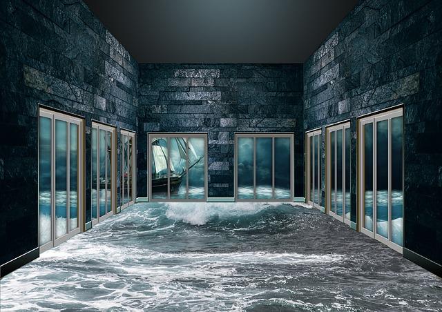 sklenené dvere a moře