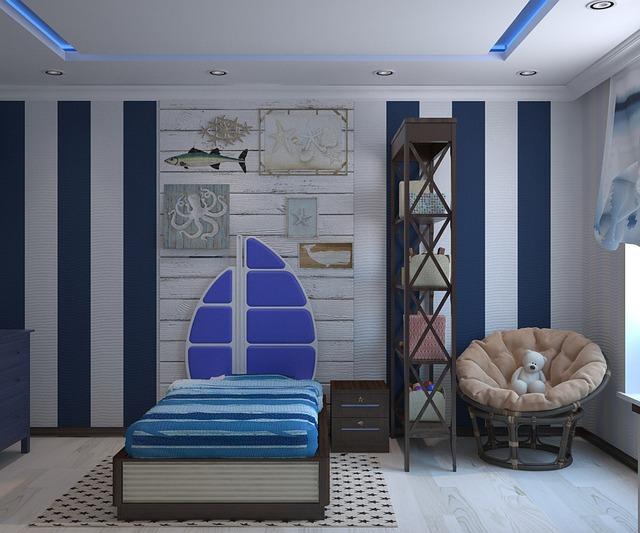 Detská izba s modrým led osvetleným na strope